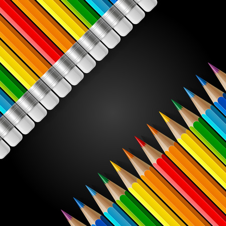 Two diagonal rows of rainbow colored pencils with erasers and realistic shadows on black background. RGB EPS 10 vector illustration
