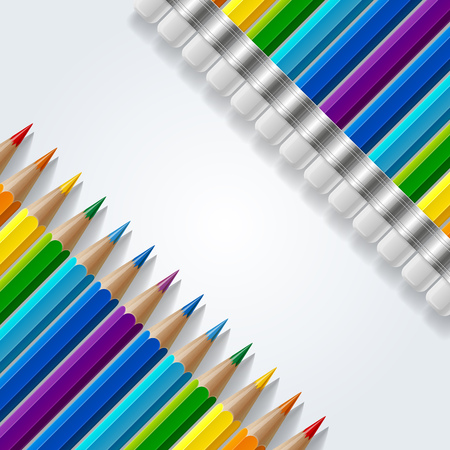 Two diagonal rows of rainbow colored pencils with erasers and realistic shadows on white background. RGB EPS 10 vector illustration