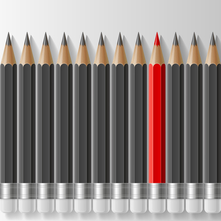 red pencil: Row of dark grey pencils with one outstanding red pencil metaphor on white background. RGB EPS 10 vector illustration