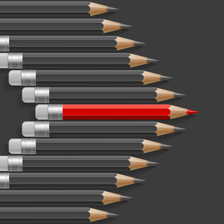 Arrow shape of dark grey pencils with one outstanding red pencil metaphor on black background. RGB EPS 10 vector illustration Illustration