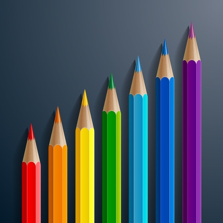 Infographic rainbow color pencils with realistic shadows diagonal growth chart on black background. RGB EPS 10 vector illustration