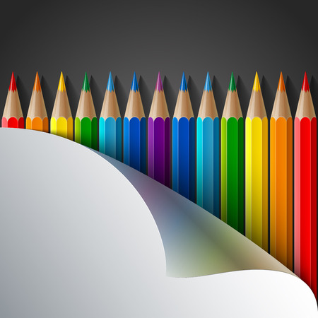 crayons: Rainbow colored pencils and realistic white paper turn corner on dark grey background. RGB EPS 10 vector illustration