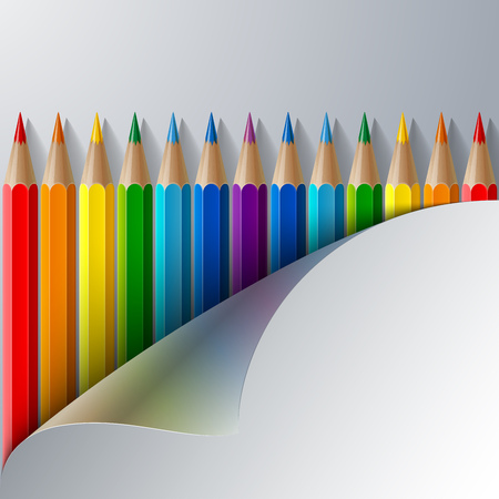 turn the corner: Rainbow colored pencils and realistic white paper turn corner.  RGB EPS 10 vector illustration