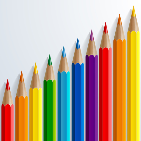 Infographic rainbow color pencils with realistic shadows diagonal growth chart on white background. RGB EPS 10 vector illustration
