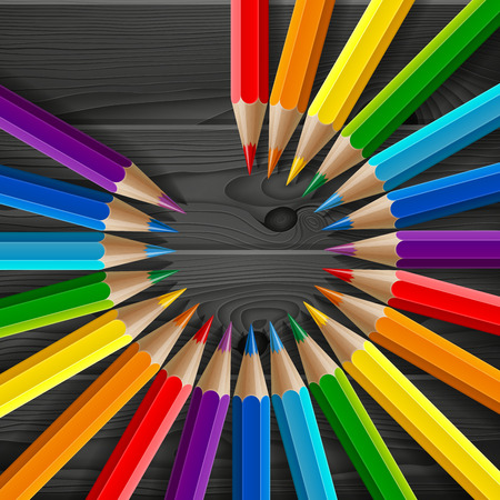 Circle of rainbow colored pencils with realistic shadows on dark grey wood texture background. RGB EPS 10 vector illustration Ilustração