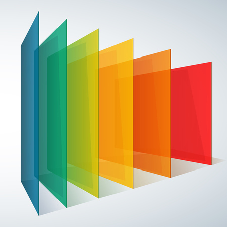 backdrop design: 3d perspective rainbow abstract rectangles on white background. RGB EPS 10 vector illustration Illustration
