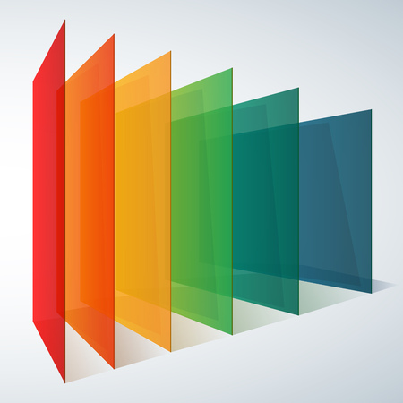 Infographics 3d perspective rainbow transparent rectangles on white background. RGB EPS 10 vector illustration