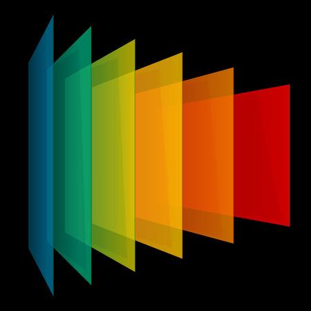 Infographics 3d perspective rainbow transparent rectangles on black background. RGB EPS 10 vector illustration Ilustração