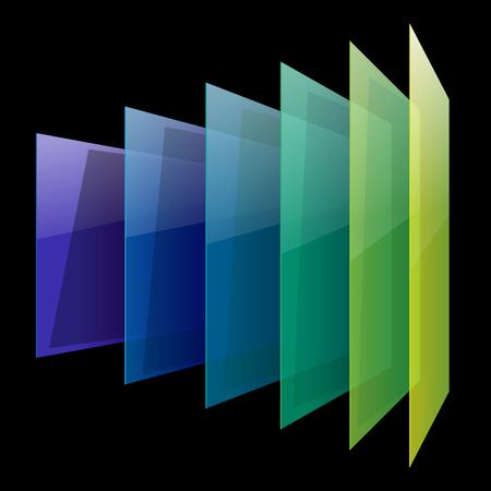 Infographics shiny 3d perspective colorful glass rectangles on black background. RGB EPS 10 vector illustration Ilustração