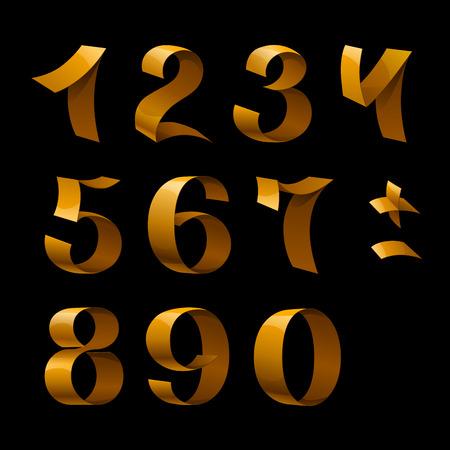 Isolated shiny golden ribbon numbers on black background. RGB EPS 10 vector elements set Ilustração