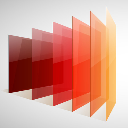 Infographics 3d perspective red, orange and yellow abstract shiny rectangles on white background. RGB EPS 10 vector illustration