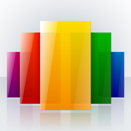 Abstract infographic colorful rainbow shiny transparent rectangles with reflections on light gray background. RGB EPS 10 vector illustration Ilustração