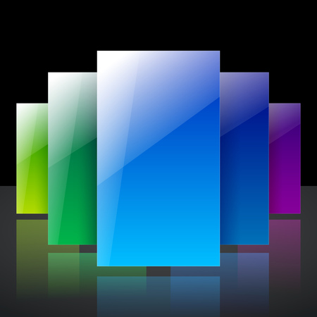 Abstract infographic colorful blue, yellow and green shiny transparent rectangles with reflections on black background. RGB EPS 10 vector illustration Ilustração
