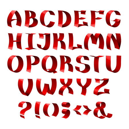 孤立した赤い色光沢のあるリボン フォント アルファベット文字のセットです。RGB EPS 10 ベクトル図