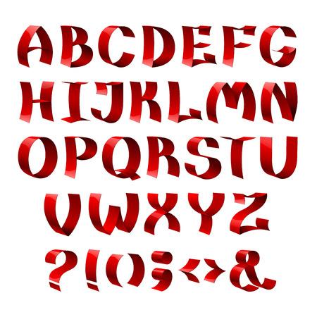 Set van geïsoleerde glanzend lint doopvontalfabet brieven rode kleur. RGB EPS 10 vector illustratie