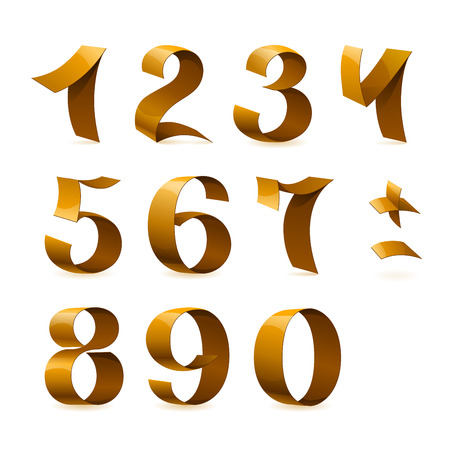 Isolated shiny golden ribbon numbers on white background. RGB EPS 10 vector elements set