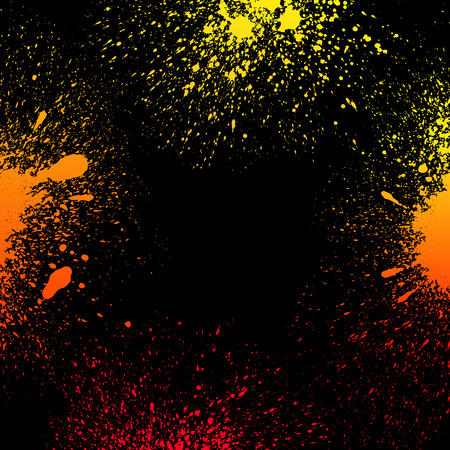 grungy: Colorful yellow, orange and red grungy gradient paint splashes on black background. RGB EPS 10 vector illustration