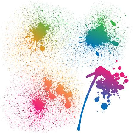 4 孤立したカラフルなグラデーション虹グランジ ペンキのセットは、白い背景の上はね。RGB EPS 10 ベクトル図