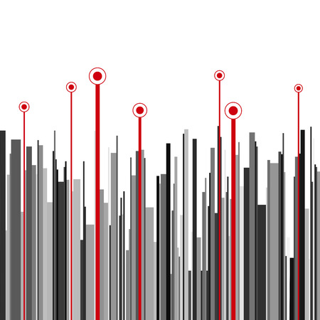 Abstract vertical infographics gray, black and red stripes and circles background. RGB EPS 10 vector illustration Ilustração