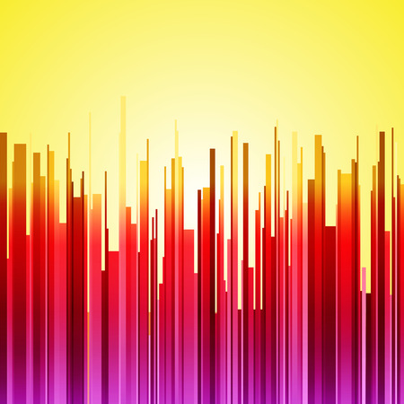 Abstract vertical red, purple and orange gradient stripes city landscape on yellow sunrise background. RGB EPS 10 vector illustration Banco de Imagens - 47622912