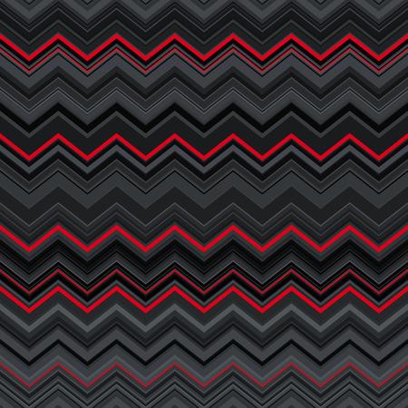 抽象的な黒赤とグレーのジグザグ ストライプ民族のシームレスなパターン背景を歪んでいます。RGB EPS 10 ベクトル図