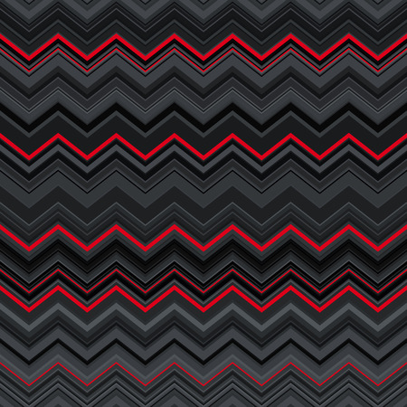 Abstract black, red and grey zig-zag warped stripes ethnic seamless pattern background. RGB EPS 10 vector illustration