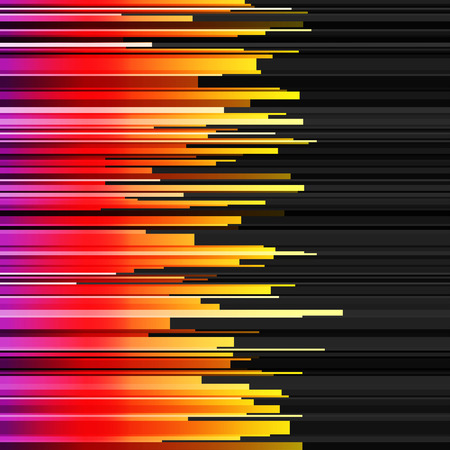 black yellow: Abstract horizontal infographics purple, red, orange and yellow gradient cut stripes on black background. RGB EPS 10 vector illustration Illustration
