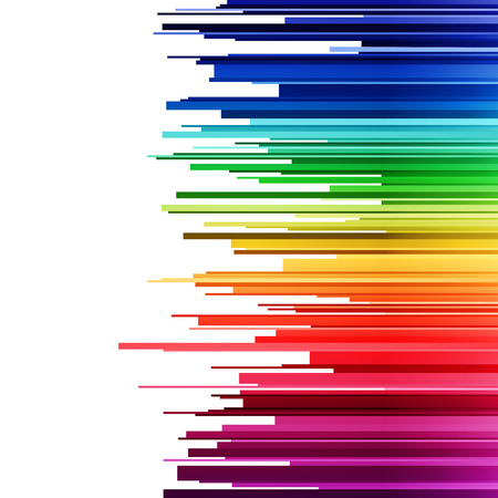 Abstract infographics horizontal rainbow gradient stripes cuts on white background. RGB EPS 10 vector illustration Vettoriali