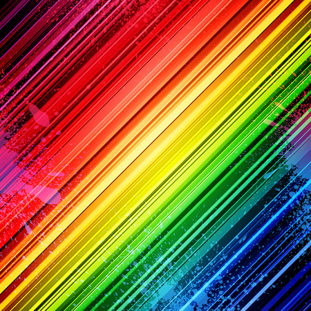 Rainbow diagonal stripes and colorful paint splashes abstract background. RGB EPS 10 vector illustration