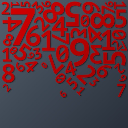 Abstract red random falling digits with shadows on dark gray background pattern. RGB EPS 10 vector illustration