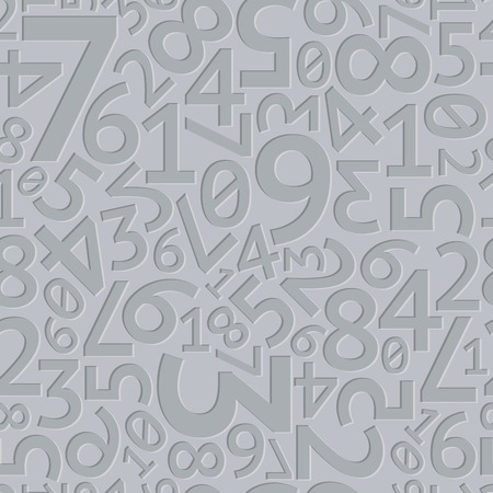 Abstract grey extruded random numbers on grey background seamless pattern. RGB EPS 10 vector illustration