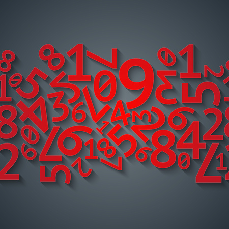 Abstract red random digits with shadows on dark gray background pattern. RGB EPS 10 vector illustration