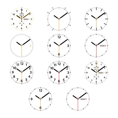 Set of 11 modern smart watches black and golden round dials on white background. RGB EPS 10 vector illustration Banco de Imagens - 47622932