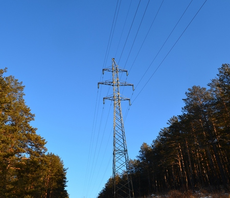 reliance: Reliance power transmission lines in Siberia Stock Photo