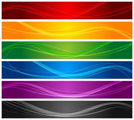 カラフルな波線のバナー  イラスト・ベクター素材