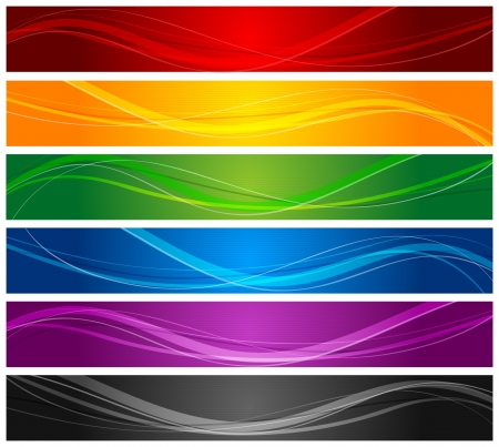 orange banner: colorful wavy line banners
