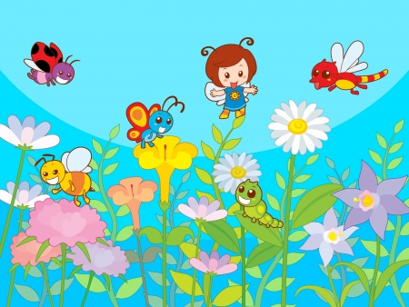 Cute beautifully garden with happy and friendly colony Vector
