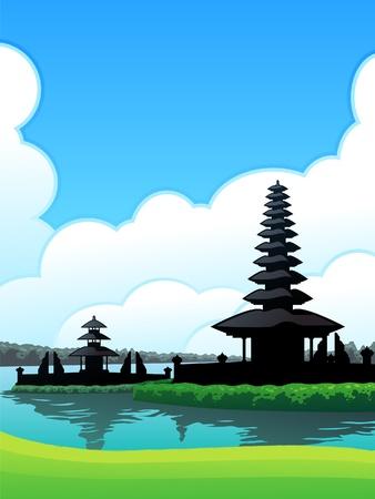バリ島ブドゥグル  イラスト・ベクター素材