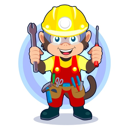 Construction Monkey Stock Vector - 9152117