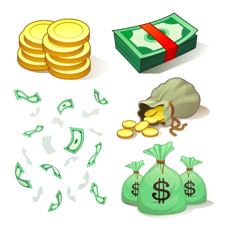 cartoon money: Money And Coins