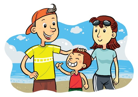Family Beach Stock Vector - 9720839