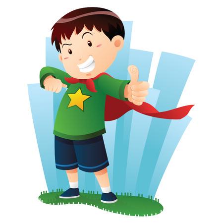 niños jugando caricatura: Acción Boy Vectores