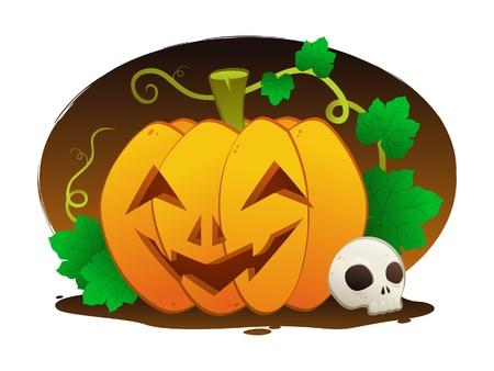 calabaza caricatura: Happy Halloween Vectores