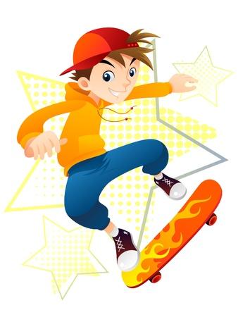 スケーターの少年  イラスト・ベクター素材