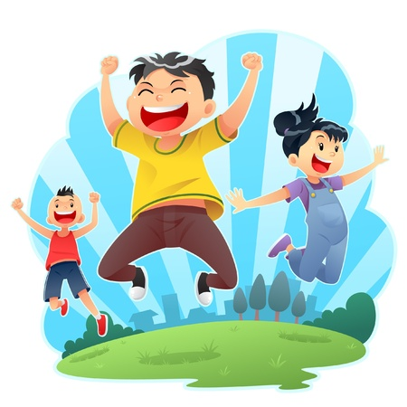 children jumping: Happy Jumps