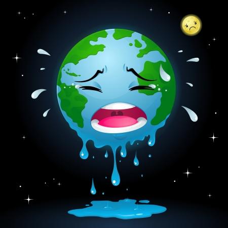 calentamiento global: Llorando Tierra Vectores