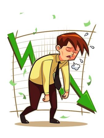 苦しめられた実業家  イラスト・ベクター素材