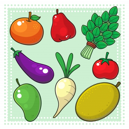 fruit cartoon: Fruits and Vegetables