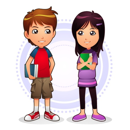 smart girl: Boy and Girl Illustration