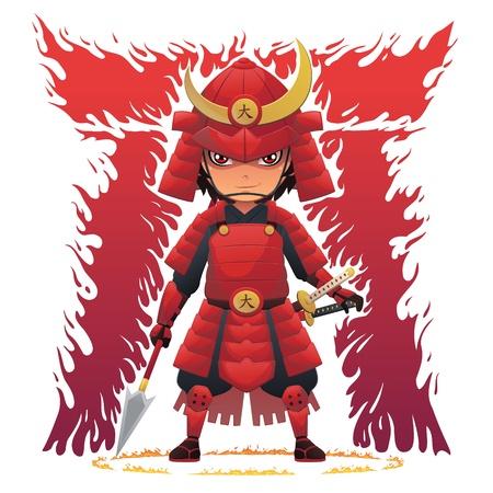 Red Armor Samurai Vector